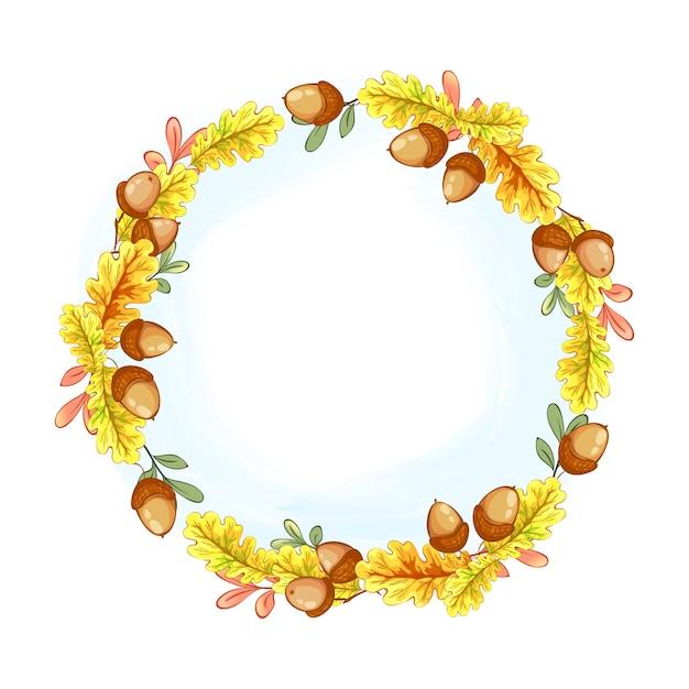 Uma grinalda de carvalho amarelo outono folhas e bolotas. Vetor Premium