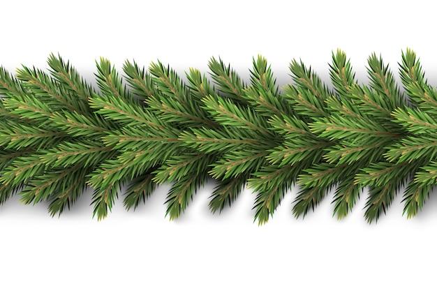 Uma guirlanda de ano novo realista e detalhada fez galhos de pinheiro para criar cartões postais, banners para os elementos de decoração do site Vetor Premium