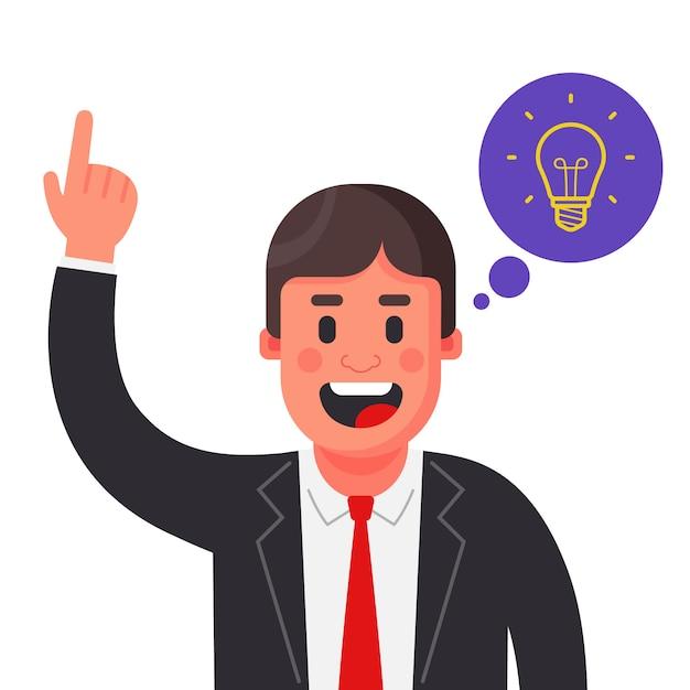 Uma idéia brilhante chegou a um homem de terno. levante sua mão. ilustração em vetor personagem plana Vetor Premium