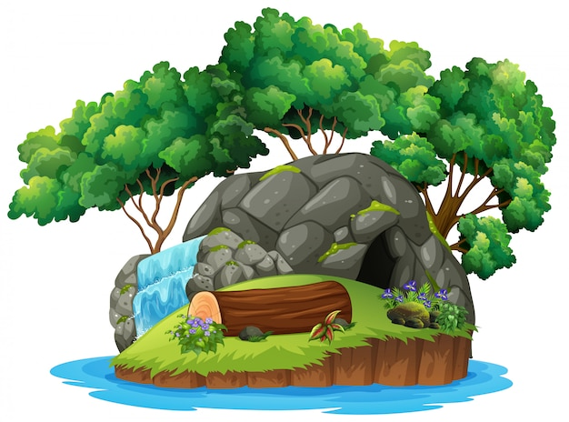 Uma ilha de caverna isolada Vetor Premium