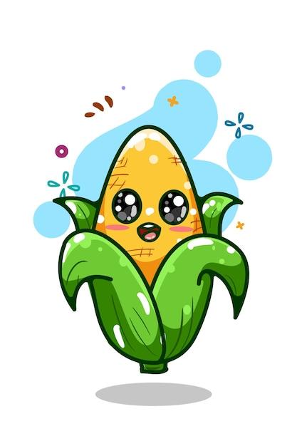 Uma ilustração de milho bonito desenho à mão Vetor Premium