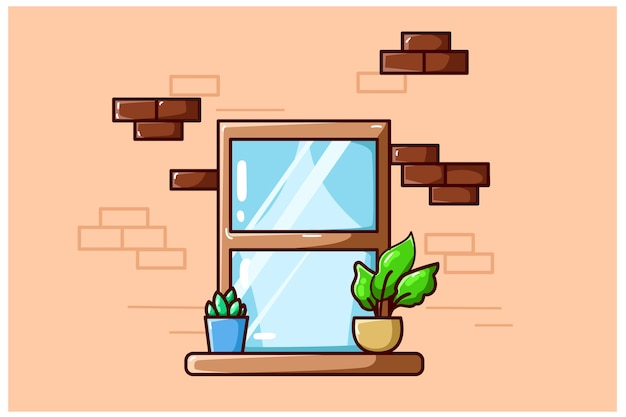 Uma ilustração de uma janela com algumas plantas Vetor Premium