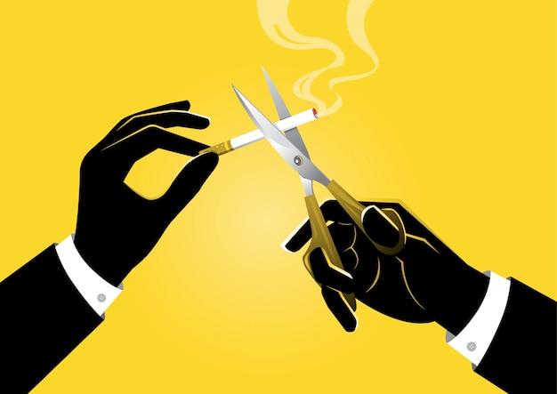 Uma ilustração do empresário segurando uma tesoura na mão corta um cigarro, conceito de proibido fumar Vetor Premium