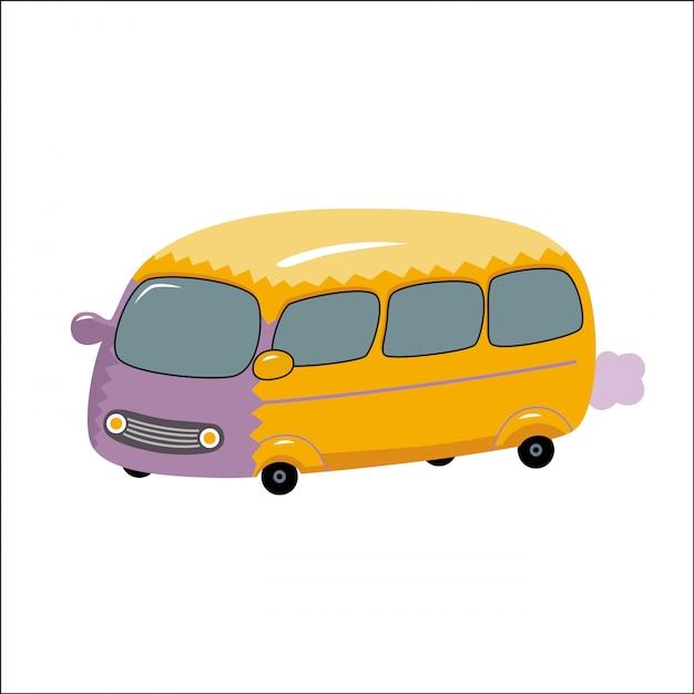 Uma ilustração do vetor do ônibus amarelo de brinquedo Vetor Premium