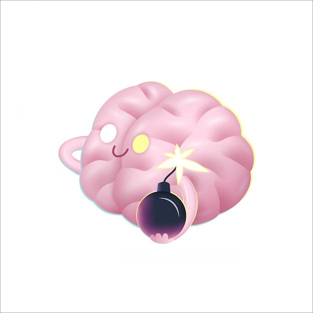 Uma ilustração dos desenhos animados do vetor de um cérebro que prende a bomba em suas mãos Vetor Premium