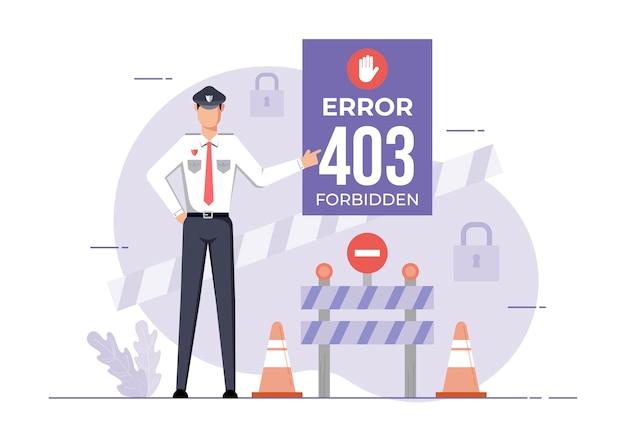 Uma ilustração para a página de site proibido de erro. erro de conexão acesso negado. Vetor Premium