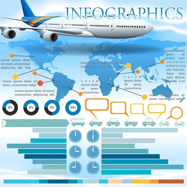 Uma infografia com um avião Vetor Premium