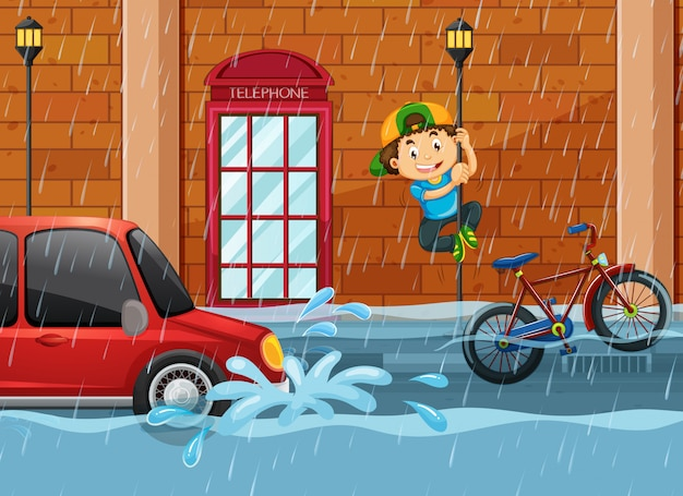 Uma inundação no streeside Vetor Premium