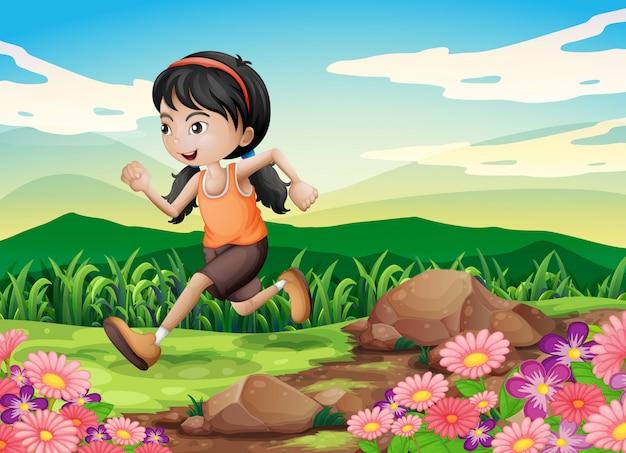 Uma jovem correndo apressadamente Vetor grátis