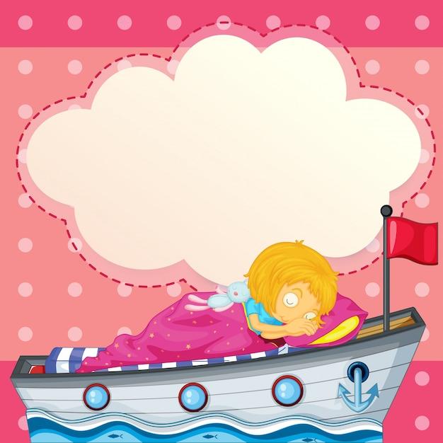 Uma jovem dormindo no navio com uma frase vazia Vetor Premium