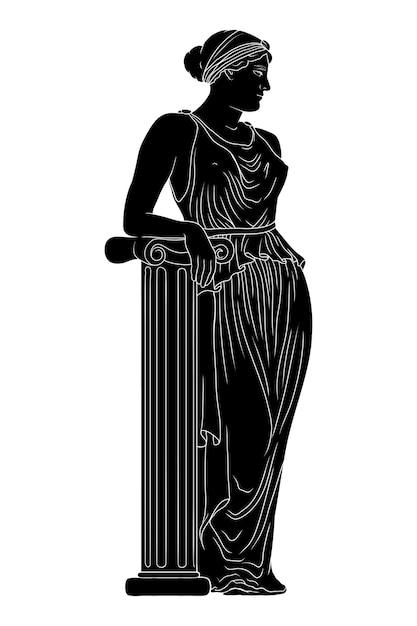 Uma jovem e esguia mulher grega antiga com uma túnica está perto de uma coluna de mármore e desvia o olhar. Vetor Premium