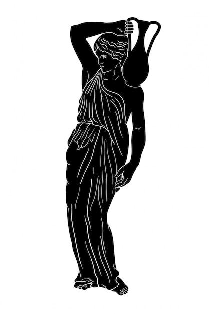 Uma jovem esbelta e grega antiga levanta-se e segura um jarro de barro no ombro. Vetor Premium