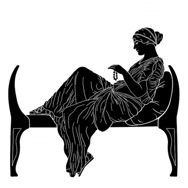 Uma jovem mulher grega antiga senta-se em uma cama e tem contas na mão. Vetor Premium