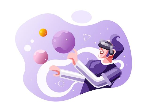 Uma juventude move objetos ao redor usando uma ilustração de fone de ouvido de realidade virtual vr Vetor Premium