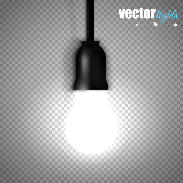 Uma lâmpada acesa isolada em fundo transparente. Vetor Premium