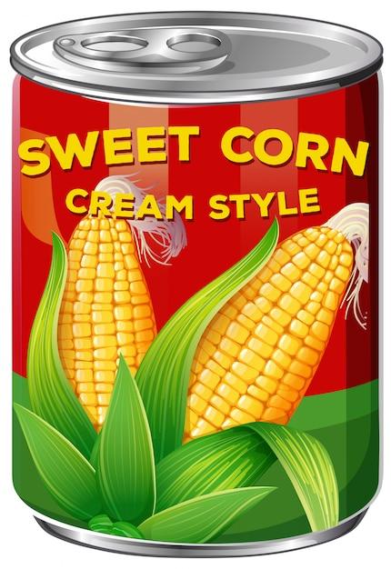 Uma lata de creme de milho doce Vetor grátis