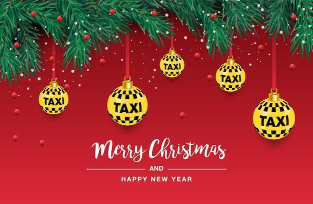 Uma linda árvore de natal no. ilustração para um cartaz de táxi. ano novo e natal. táxi, carro. Vetor Premium