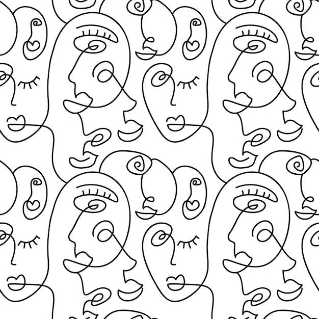 Uma linha desenho abstrato sem costura padrão de rosto. arte moderna do minimalismo, contorno estético Vetor Premium