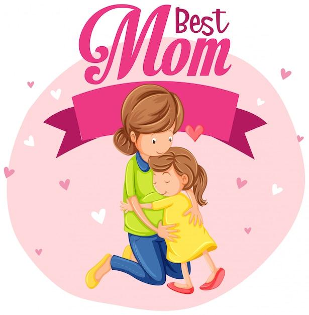 Uma mãe melhor ilustração bonita Vetor grátis
