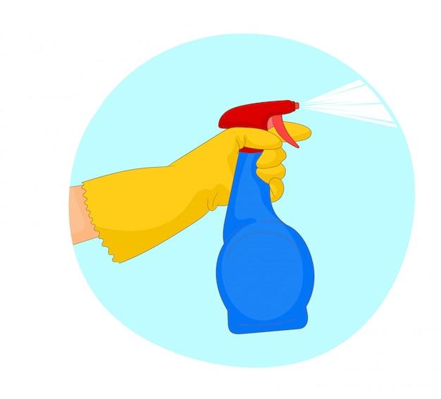 Uma mão em uma luva amarela segura um spray de líquido de limpeza Vetor Premium
