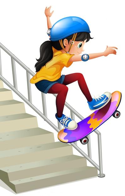 Uma menina andando de skate nas escadas te Vetor Premium