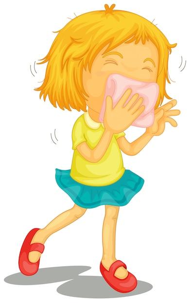 Uma menina com resfriados Vetor grátis
