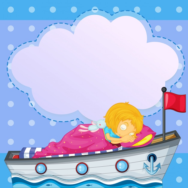 Uma menina dormindo acima do barco com um texto explicativo vazio Vetor Premium