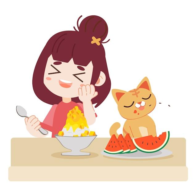 Uma menina e gato bonito comer comida refrescante Vetor Premium