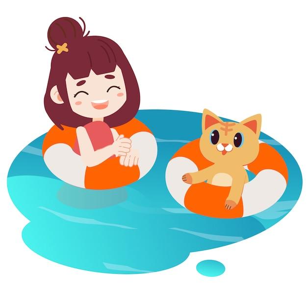 Uma menina feliz e gato bonito que nadam na água. Vetor Premium