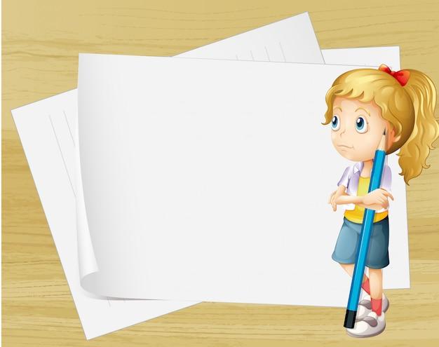 Uma menina triste com um lápis em pé na frente dos papéis vazios Vetor grátis