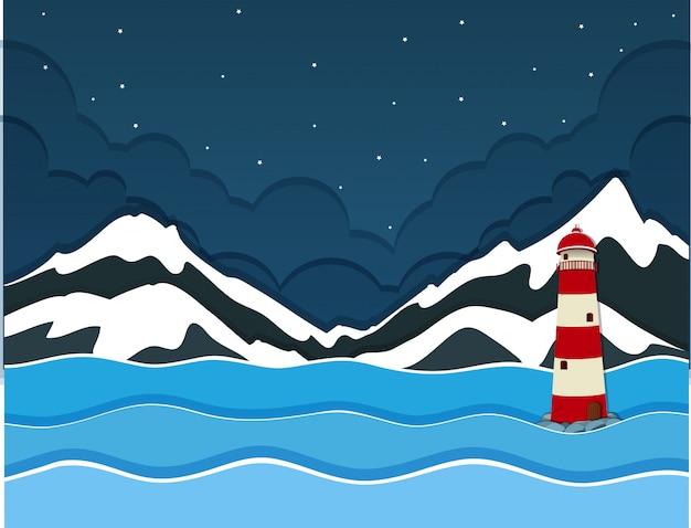 Uma montanha de neve sobre vista para o mar Vetor grátis