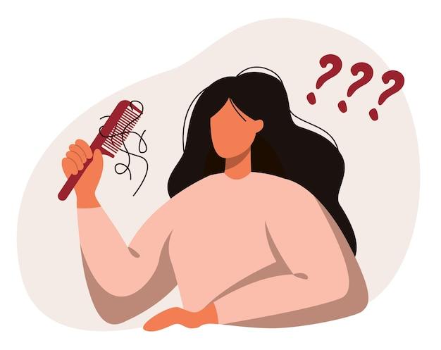 Uma mulher com um pente na mão. queda de cabelo, alopecia em idade jovem, problemas de cabelo, calvície. Vetor Premium
