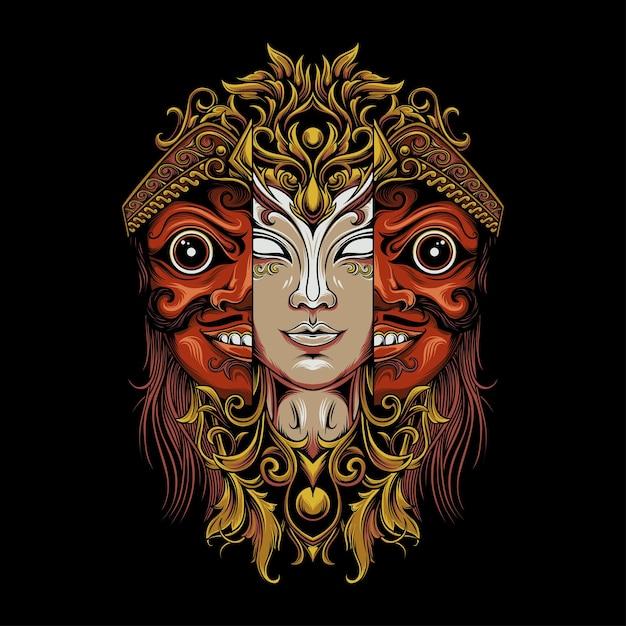 Uma mulher com uma máscara javanesa típica Vetor Premium
