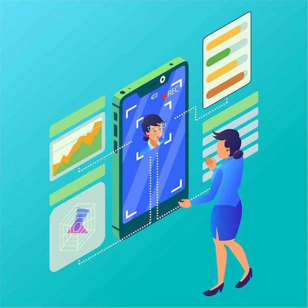 Uma mulher está fazendo uma análise de personalidade com ilustração isométrica de detector de rosto Vetor Premium
