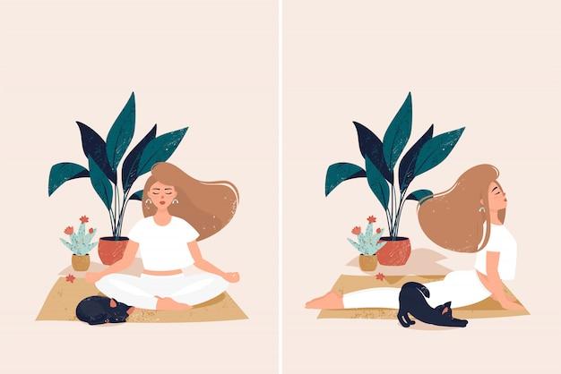 Uma mulher fazendo yoga em casa aconchegante com gato preto bonito por vasos com plantas Vetor Premium