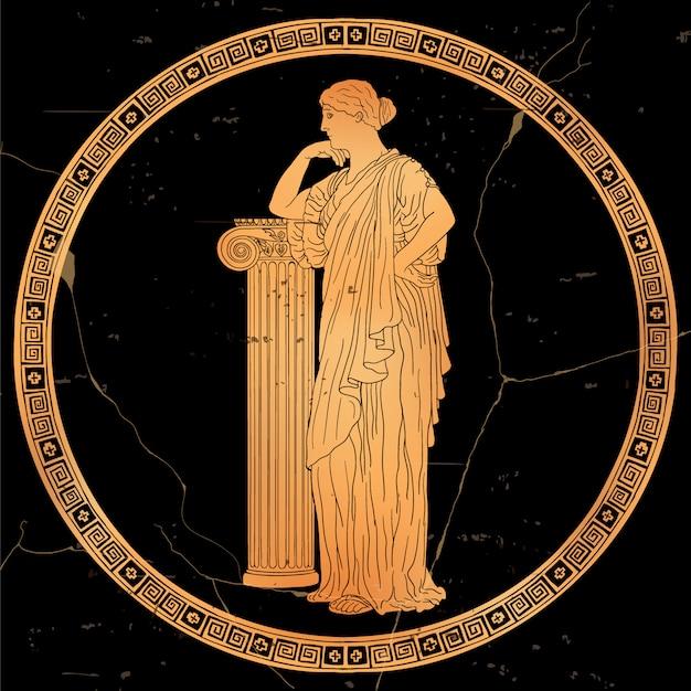 Uma mulher grega antiga de túnica fica e se apoia em um pedestal de pedra. imagem vetorial, isolada no fundo branco. Vetor Premium