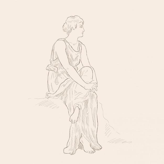 Uma mulher grega antiga em uma túnica sentada com os braços cruzados. imagem vetorial isolada em fundo bege. Vetor Premium