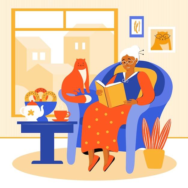 Uma mulher idosa fica em casa durante a quarentena. a avó está sentada em uma cadeira perto da janela, lendo um livro. pensionista bebe chá com bolos caseiros. velha passa tempo com seu animal de estimação Vetor Premium