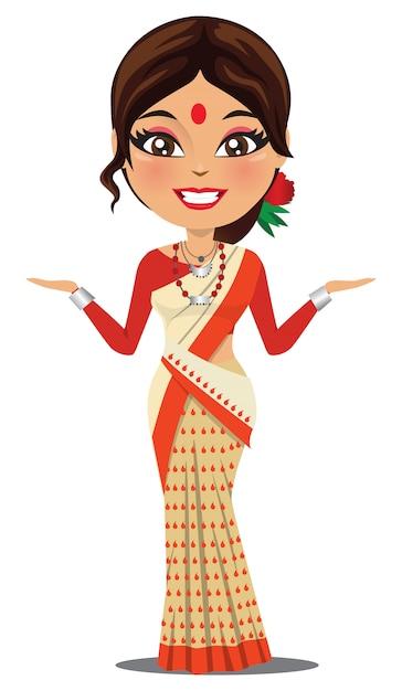 Uma mulher indiana vestindo um saree Vetor Premium