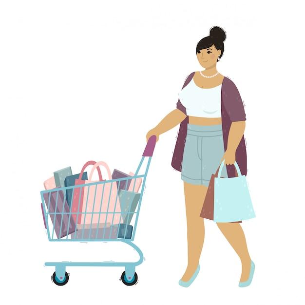 Uma mulher jovem e bonita é fazer compras. personagem de menina feliz com um saco de papel e carrinho de compras. Vetor Premium