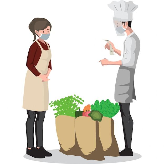 Uma mulher vendendo legumes para o chef Vetor Premium