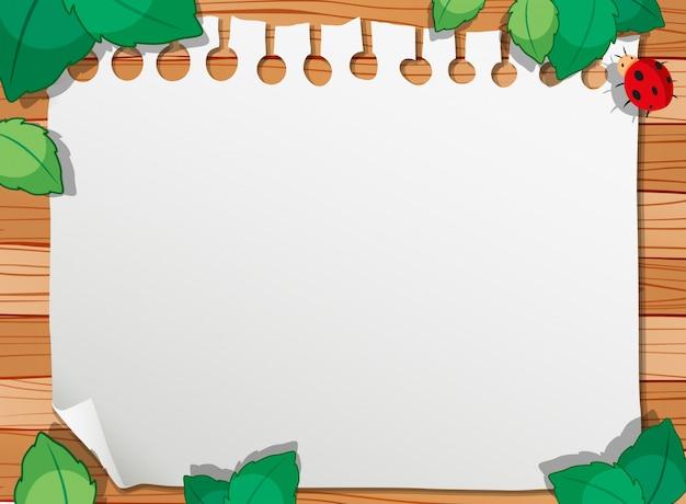 Uma natureza de madeira com frame da nota e copyspace Vetor grátis