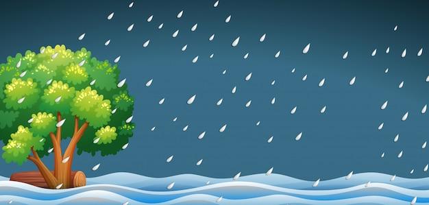 Uma paisagem de natureza chuvosa Vetor grátis