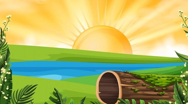 Uma paisagem natural ao pôr do sol Vetor Premium