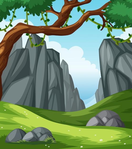 Uma paisagem natural plana Vetor grátis