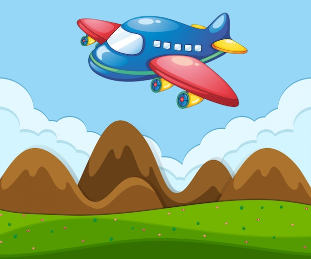 Uma paisagem plana com avião Vetor grátis