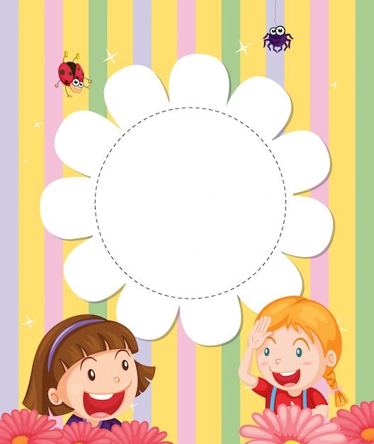 Uma papelaria com duas meninas no jardim Vetor grátis
