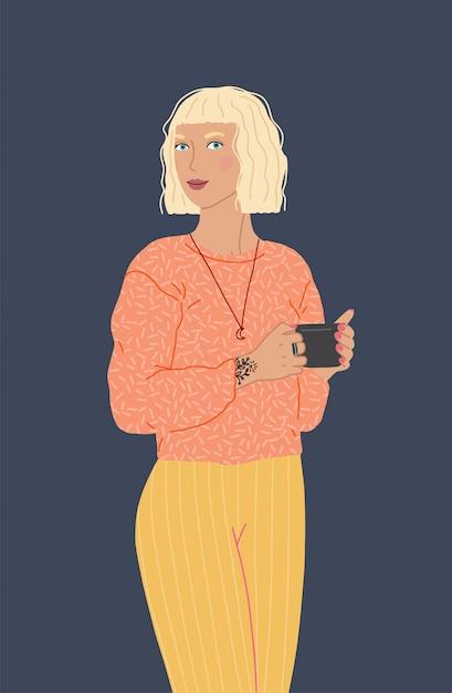 Uma personagem feminina linda segurando uma xícara de café ou chá. ilustração plana isolada Vetor Premium