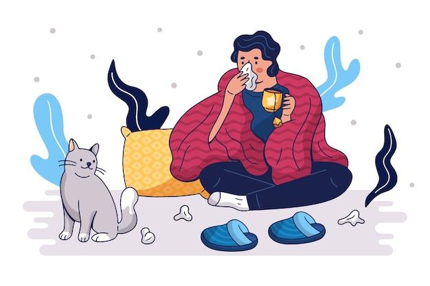 Uma pessoa com resfriado em casa Vetor grátis