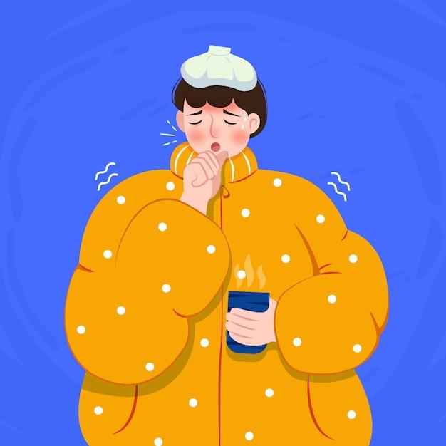 Uma pessoa com um conceito frio Vetor grátis